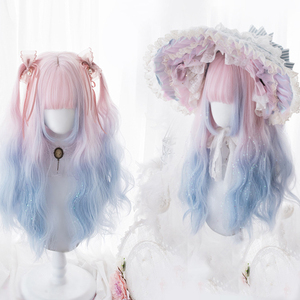 MEIFAN Long Lolita Wavy Mixed Color Pink Blue Synthetic Ainme Wigs for Women Halloween Cosplay Costume Cute Wig