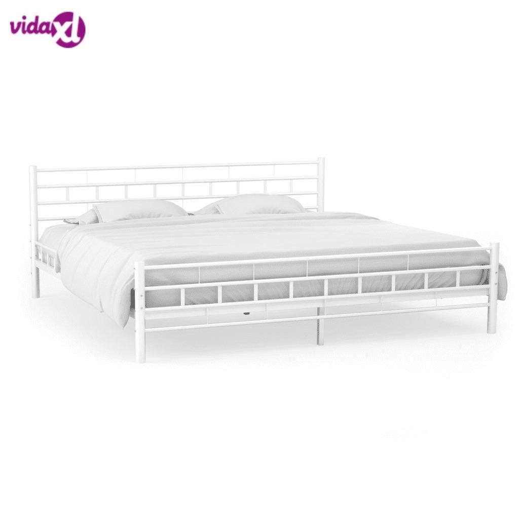 140x200CM Simple Modern Metal Bed Frame With Slatted Base Block Design White Metal Bed Adult Kids Bed Frame Bedroom Furniture V3
