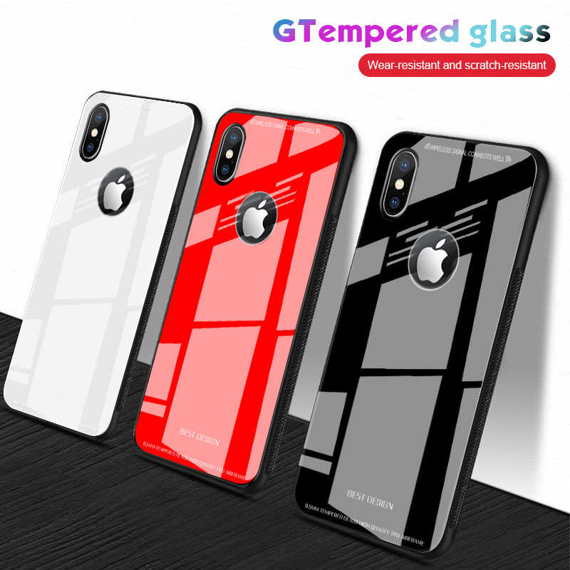 Tempered Glass Phone Case For iPhone XR XS Max 7 8 Plus 6 6S Plus Hard Protective Glass Cases For iPhone XS XR Back Cover Coque