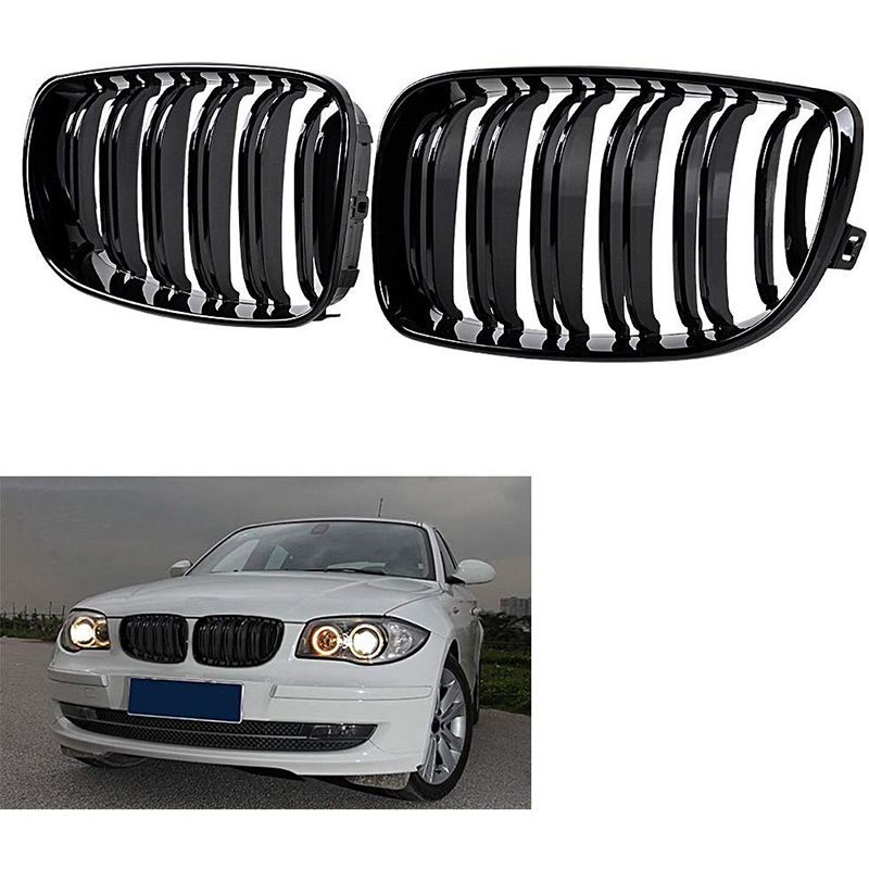 Glossy Black Dual Slats Front Kidney Grille Grill Replacement for <font><b>BMW</b></font> E81 E87 <font><b>E82</b></font> E88 120I 128I 130I <font><b>135I</b></font> Selected 2007-2011 image