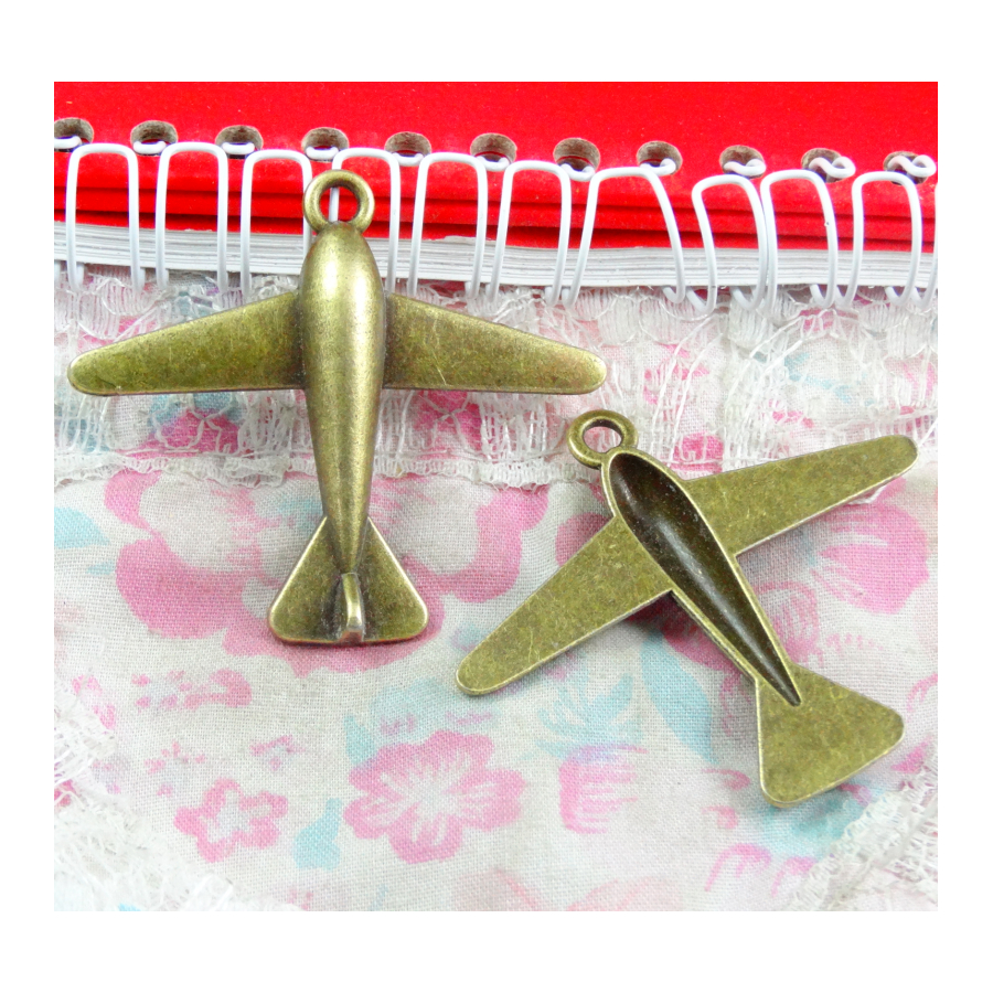 15pcs Vintage Charms plane airplane 51*44MM Antique Bronze Plated DIY Jewelry Pendants image