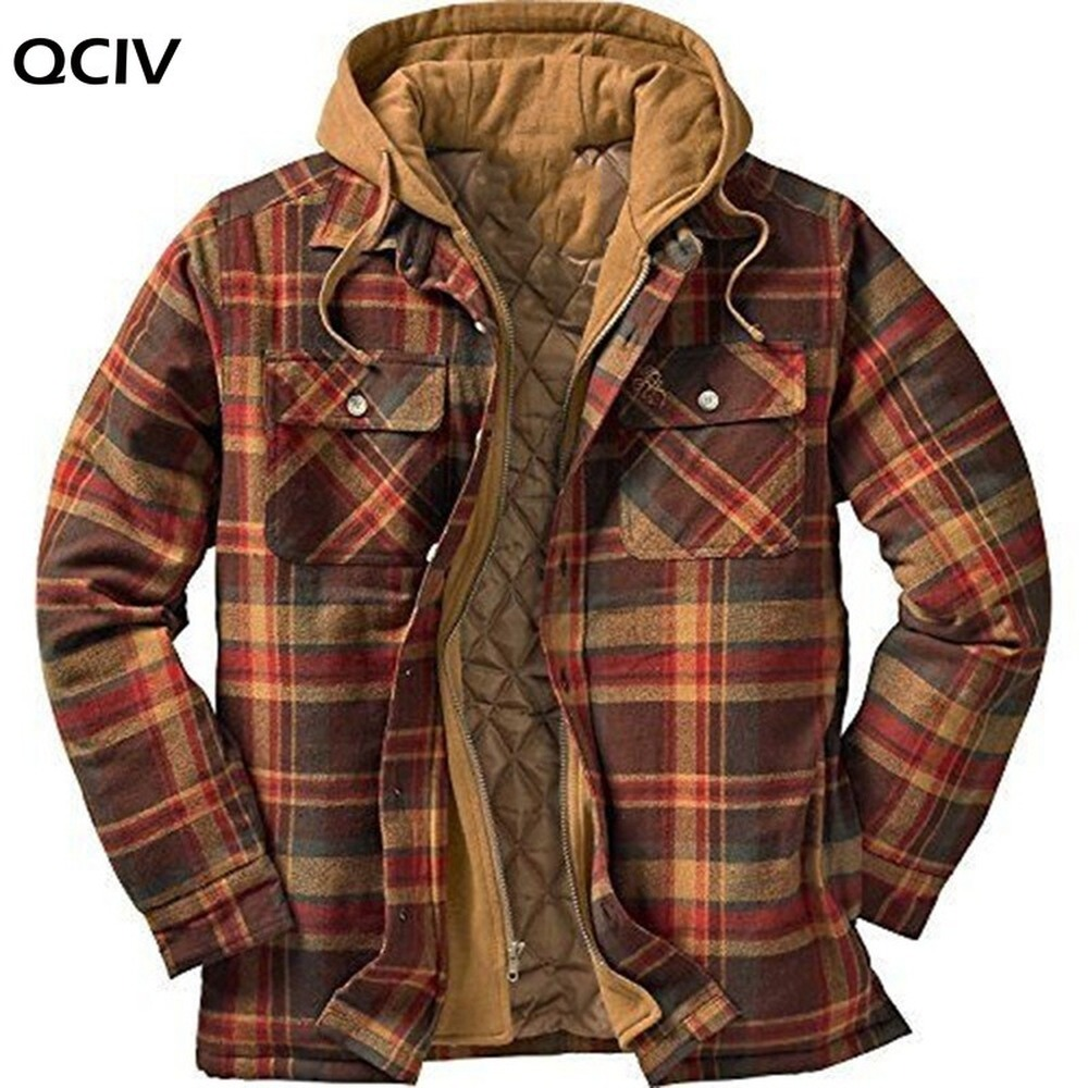 Explosive Men's Clothing European American Autumn and Winter Models Thick Cotton Plaid Long sleeved Loose Hooded Jacket