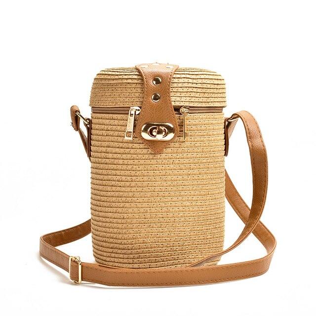 バケツ形の pp 草カジュアル織女性のバッグレトロメッセンジャーわらビーチバッグ