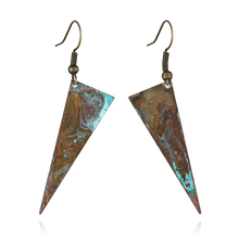 Antique Bronze patina triangle  drop earring jewelry for women