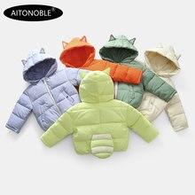 Aitonoble/Новинка; Детский пуховик; парки Детские Пуховые Пальто и парки для малышей; пальто с заплатками в подарок