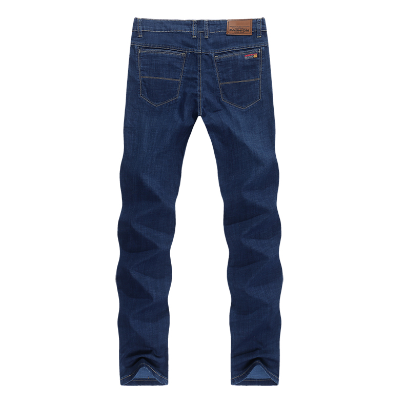 Men's Jeans Stretch Dark Blue Ultrathin Straight Classic Regular Fit Leisure Businessman Long