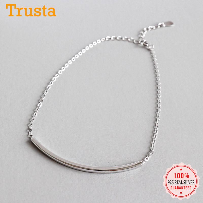 Trustdavis Genuine 925 Sterling Silver Fashion Geometry Square Tubes Anklets For Women Sterling Silver Jewelry Gift DS2397