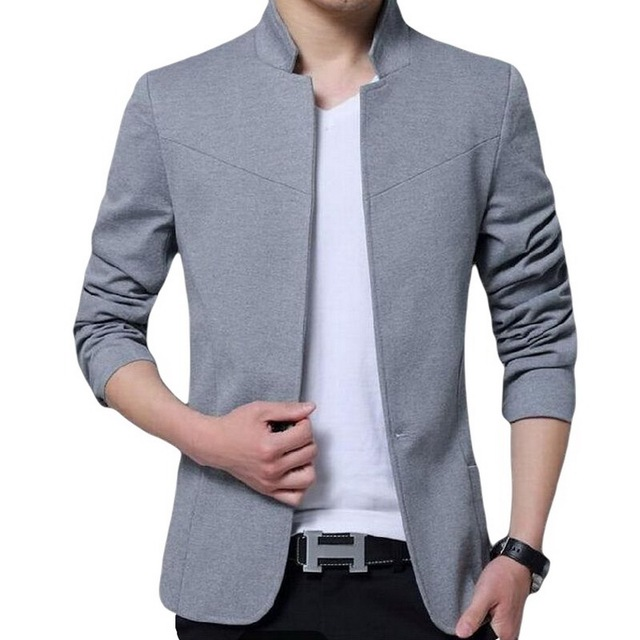 Herren Bestickt Mandarine Großvater Kragen Anzug Zhongshan Jacke Tunika Blazer