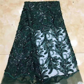 Sequin Fabric Nigeria Lace, Green Lace Embroidery Fabric, Sequin Lace For Wedding Party Mr2707b