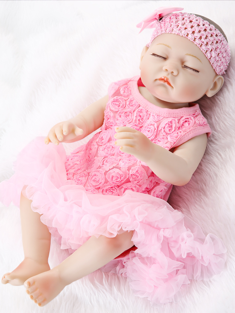 Toddler Dolls Reborn Handmade Realistic Lifelike Babies Silicone Full-Body Toys 19--Inch