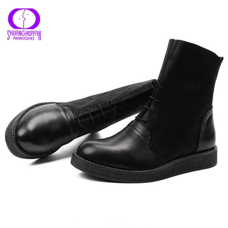 AIMEIGAO siyah dantel-up sıcak yarım çizmeler kış ayakkabı kadın platformu daireler kaymaz süet çizmeler kadın su geçirmez deri çizmeler