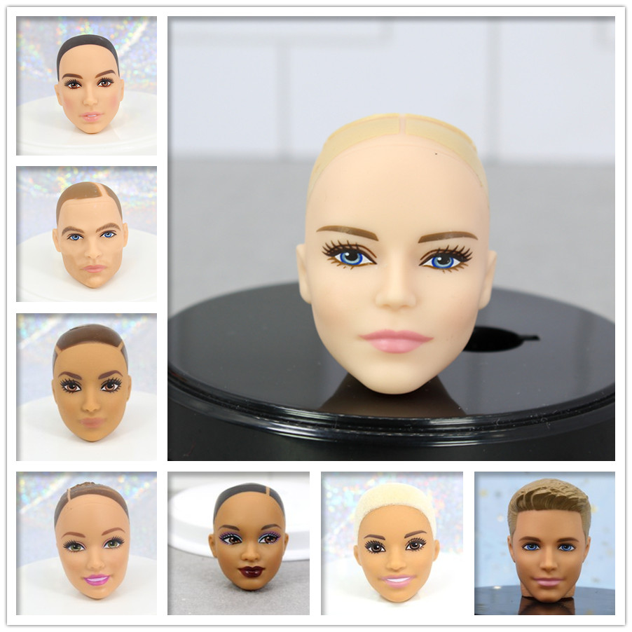 Original Doll Head / Brown & Black & Normal Skin Bald Head Doll Accessories DIY For 1/6 Doll ,Toys For Girls