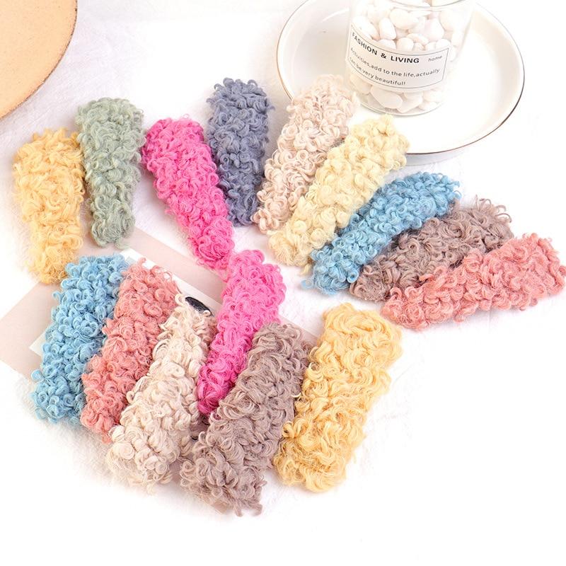 Korea Autumn And Winter New Cream Lamb Lamb BB Clip Fluffy Geometric Bangs Hair Accessories G1102