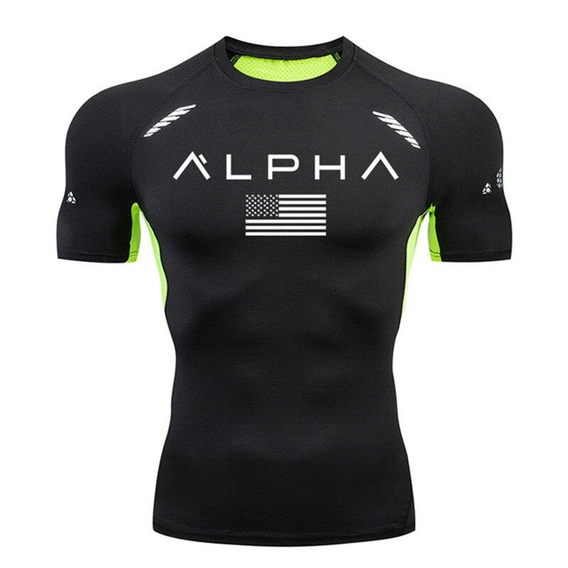 Mens Running T Shirt Brand GYM Jogging Sports Shirt Compression Shirts Short Sleeve Rashguard Tight Sportswear Men Training Tee
