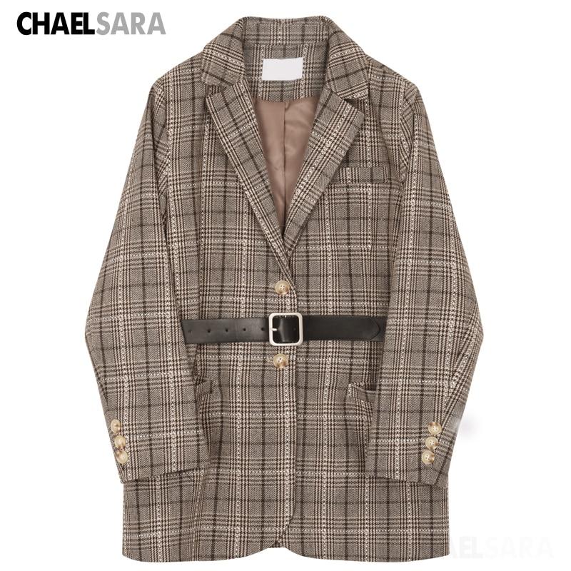 2020 New Vintage Plaid Blazer Jacket Women Elegant With Belt Long Sleeve Office Lady Suit Coat