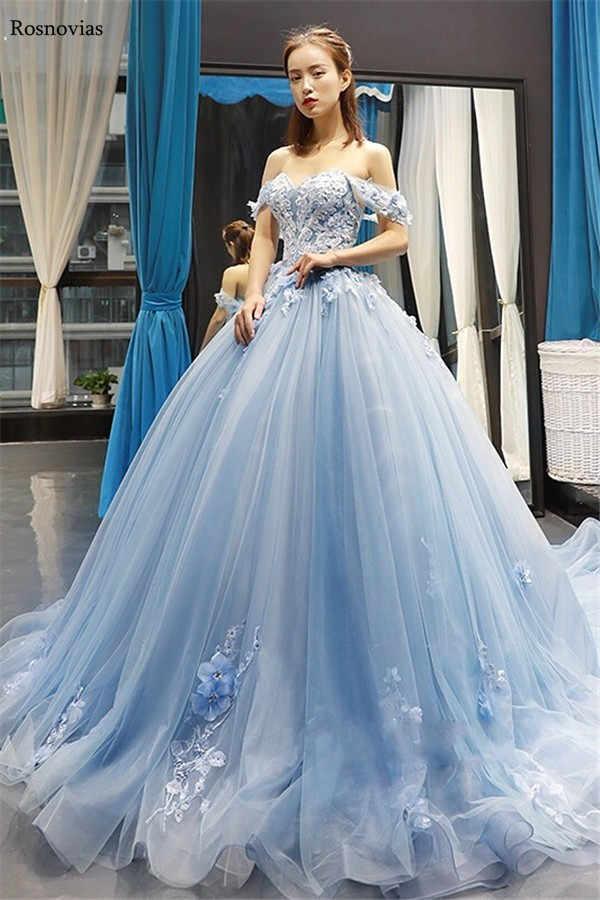 Vestido De Fiesta Azul Claro Vestidos De Quinceañera 2019 De Hombro Sin Espalda Con Cuentas De Flores 3d Vestidos De Graduación Para Dulce 15 Vestido