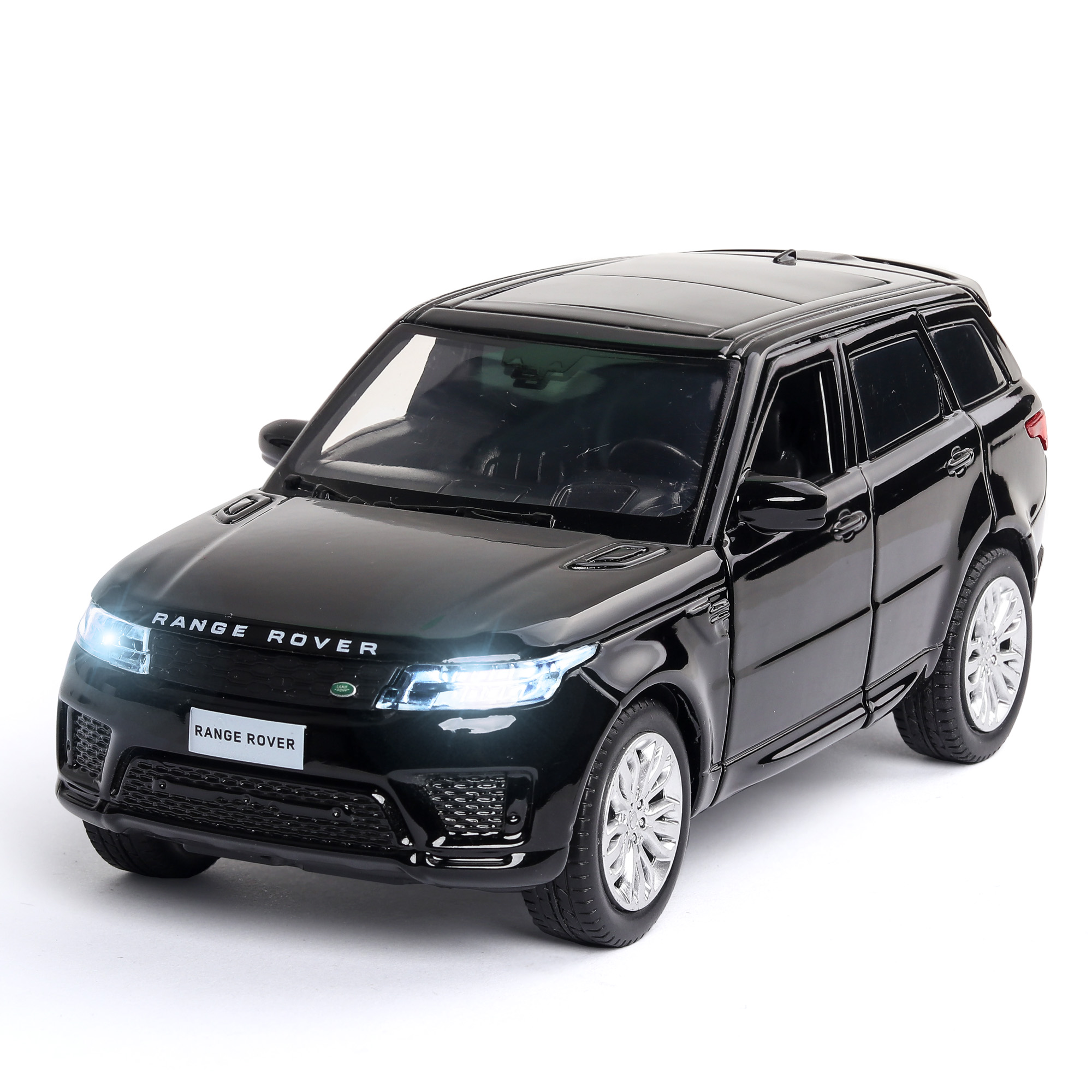 1/32 Diecast Car Model Lands Rover Range Rover Metal Toy Wheels Simulation Sound And Light Pull Back Car Collection Kids Gift