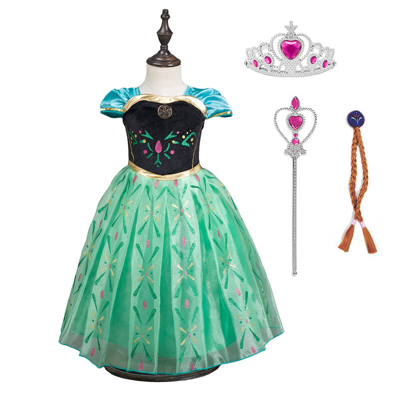 Girls Princess Anna Elsa Dress Cosplay Costume Children Pleated Skirt Princess Cosplay Fancy Dress Snow Frozen Queen Halloween