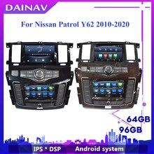 Новейший автомобильный стерео-проигрыватель на Android с двумя экранами для Nissan патруль Y62 2010-2020, автомобильный DVD-проигрыватель с GPS-навигацией