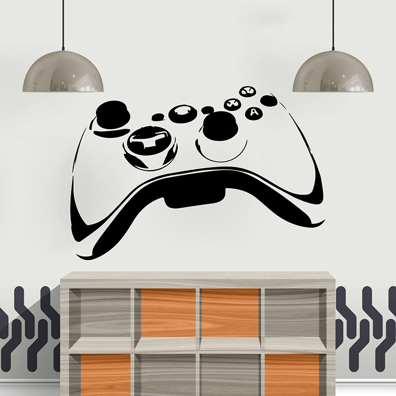 Large Video Game Controller Wall Sticker Playroom Kids Room Ps4 Xbox Gamer Joystick Video Game Wall Decal Bedroom Vinyl Decor image