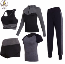 New Professional Fitness Gym Women 5 PCS Set Quick Dry Coats T Shirt Bra Shorts+pants Yoga Suit Outdoor Sportswear Clothing women yoga suit outfit fitness clothes running outdoor jogging clothing gym sport 5 pcs set bra t shirt jacket short pant