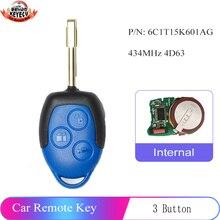 Keyecu 433Mhz 4D63 Vervanging Remote Key 3 Knop Ongesneden FO21 Blade Voor Ford Transit Wm Vm 2006 2014 pn: 6C1T15K601AG
