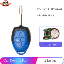 Keyecu 433mhz 4D63交換リモートキー3ボタン包茎FO21ためフォードトランジットwm vm 2006 2014 pn: 6C1T15K601AG