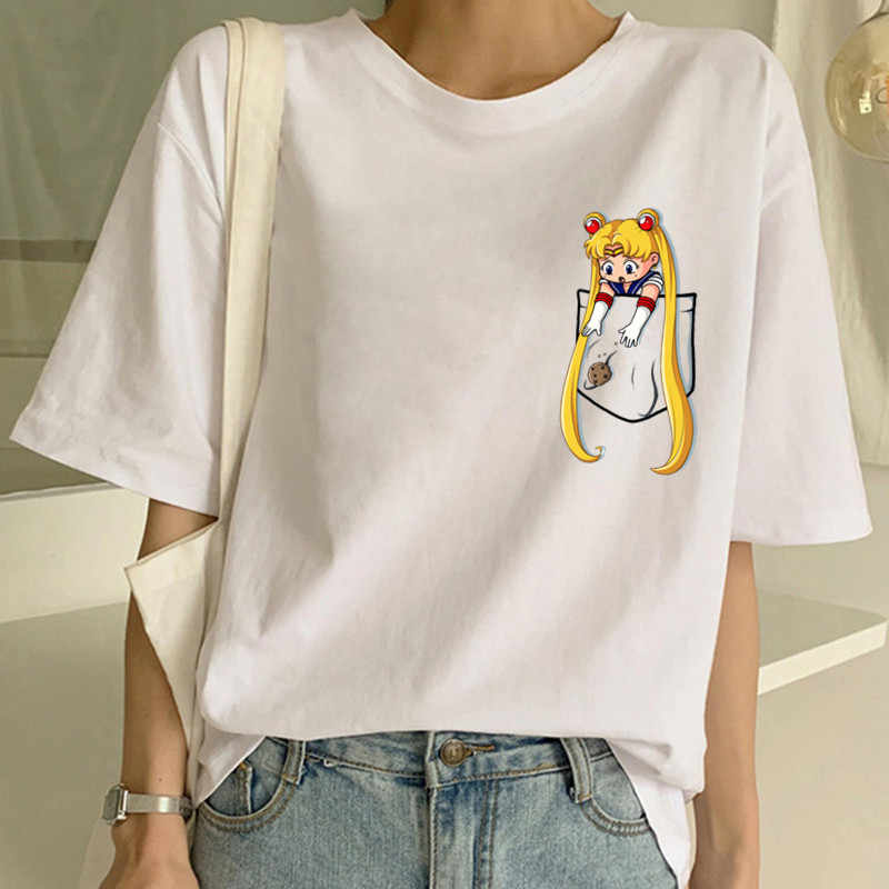 Kawaii Sailor Moon komik karikatür T Shirt kadın Harajuku Ullzang 90s T-shirt estetik sevimli Tshirt japon animesi en Tees kadın