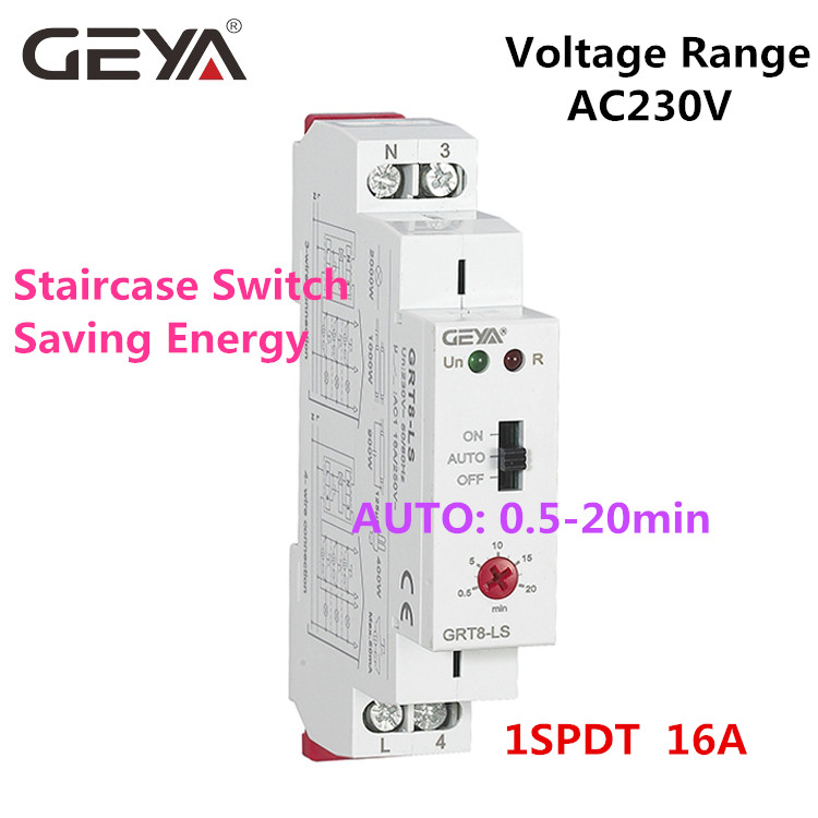 Image 5 - Free Shipping GEYA GRT8 LS Din rail Staircase Switch Lighting Timer Switch 230VAC 16A 0.5 20mins Delay off Relay Light SwitchTimers   -