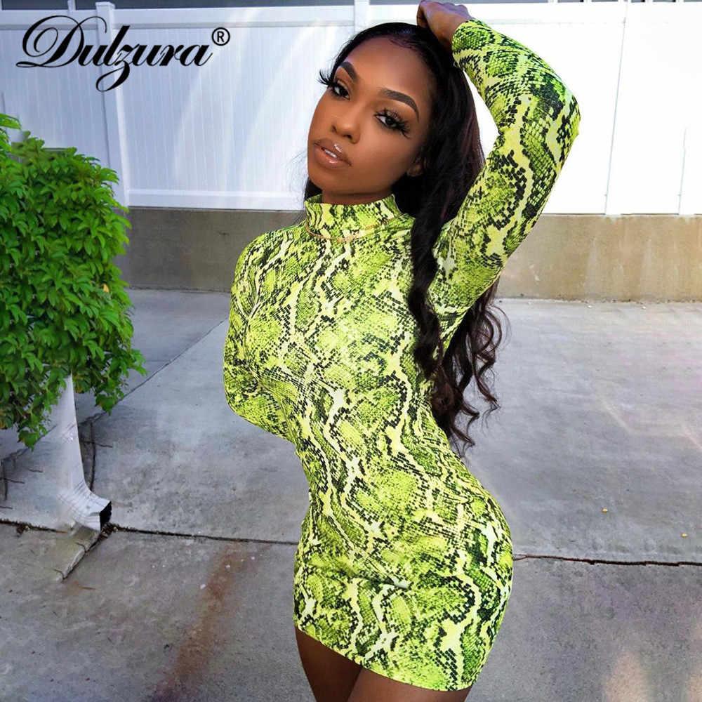 Dulzura/2019 летнее женское мини-платье для вечеринок, сексуальное, с принтом змеи, с длинным рукавом, облегающее, элегантное, Клубное, уличная одежда большого размера, повседневная, офисная