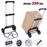 330lbs 150kg dobrável carrinho de mão pesado do carro da bagagem transporte reboque de compras portátil puxar carrinho de carga pequena tração