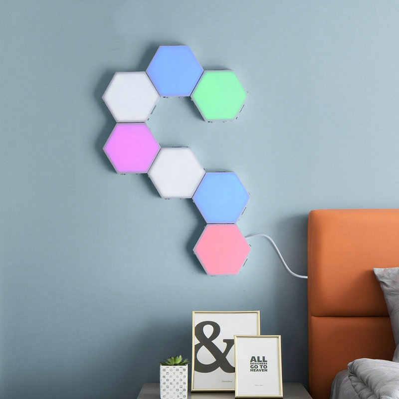 다채로운 LED 벌집 양자 육각 벽 램프 터치 침실 거실에 대 한 민감한 계단 로프트 DIY 장식 밤 빛