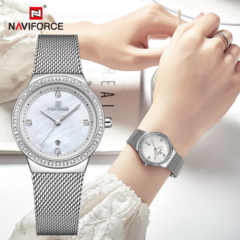 NAVIFORCE Luxury Watches Women's Fashion Stainless Steel Ladies Quartz Wristwatch Casual Waterproof Girls Clock Relogio Feminino