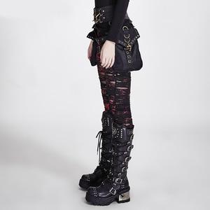 Image 2 - PUNK RAVE mujeres góticas roto malla Leggings altos agujeros elásticos de ganchillo transpirable pantalones con diseño rasgado negro rojo dije de Steampunk Sexy