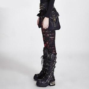 Image 2 - Женские готические леггинсы в стиле панк RAVE, эластичные вязаные дышащие рваные брюки черного, красного цветов в стиле стимпанк