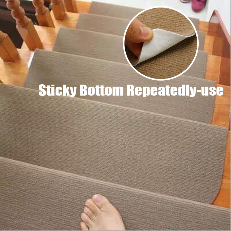 14pcs/Set Self-adhesive Stair Pads 20x45cm Anti-slip Rugs Carpet Mat Sticky Bottom Repeatedly-use Safety Pads Mat For Home