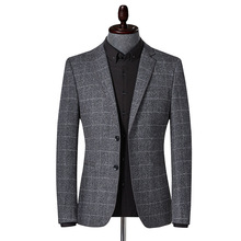 2019 new mens leisure suit autumn and winter plaid youth fashion slimming business men jacket