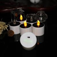 Vela electrónica de 5,2x5,8 cm alimentada por energía Solar, sin humo, sin cera, con batería, decoración de boda, luz de té blanca cálida romántica