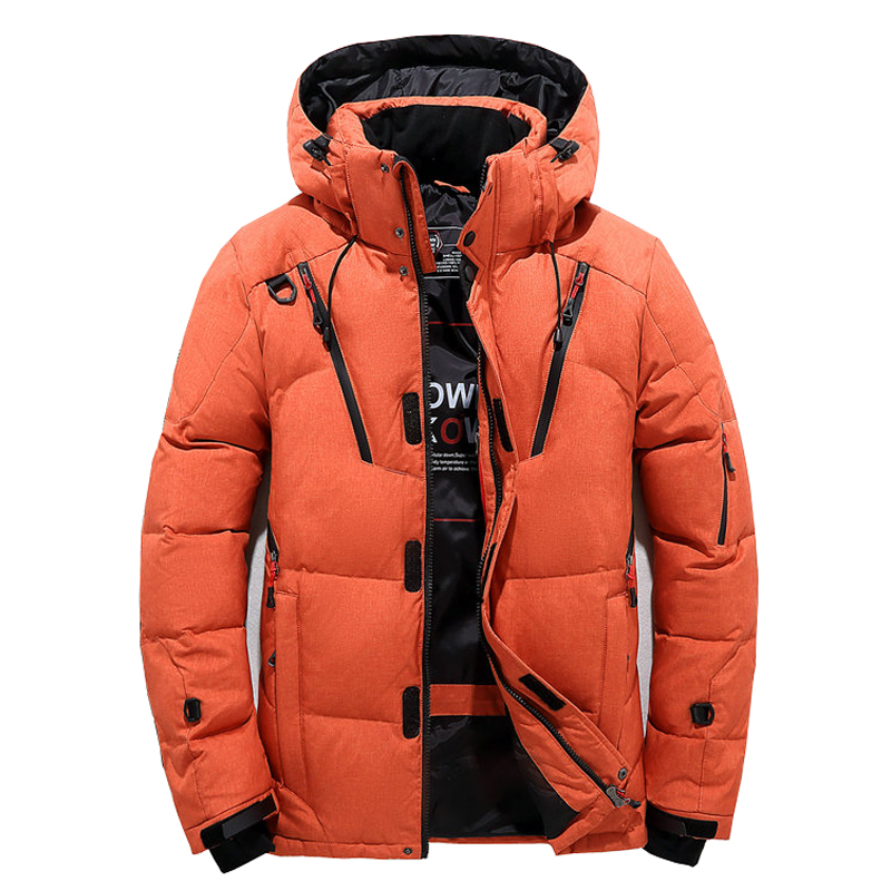 Men Down Thick Warm Winter Jacket Hooded Thicken Duck Parka Coat Casual Slim Overcoat Many Pockets Mens Orange Blue Black Grey