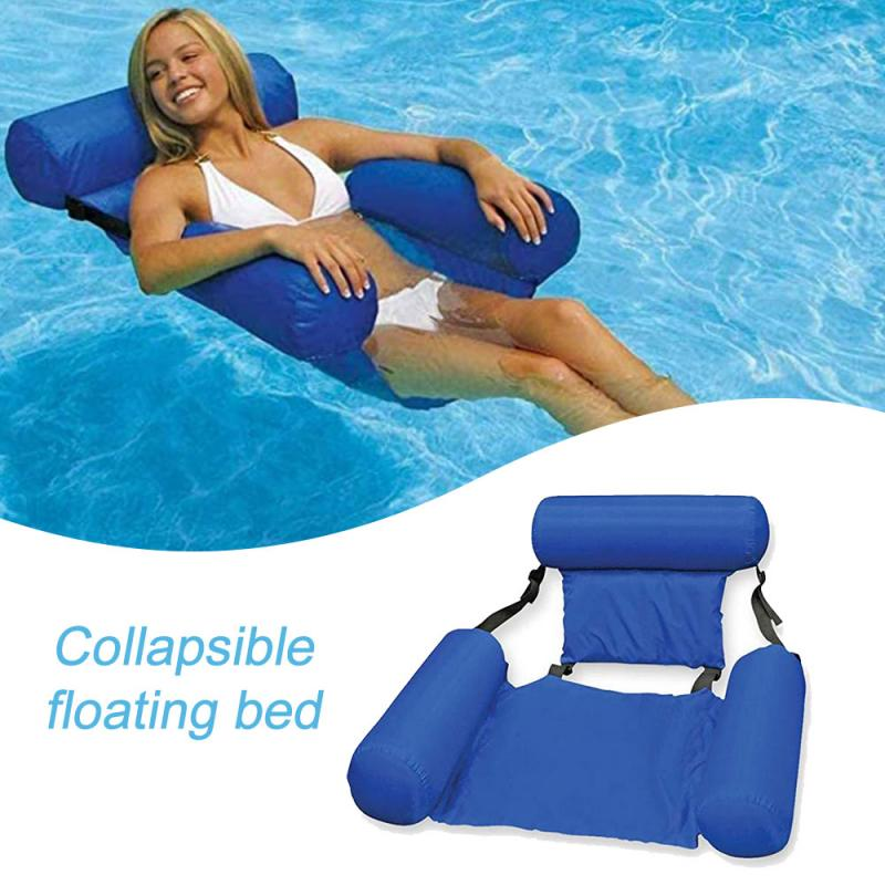 PVC Inflatable Belt Net Hammock Foldable Water Pleasure Lounge Chair Floating Bed Swimming Inflatable Beach Water Lounge Pool