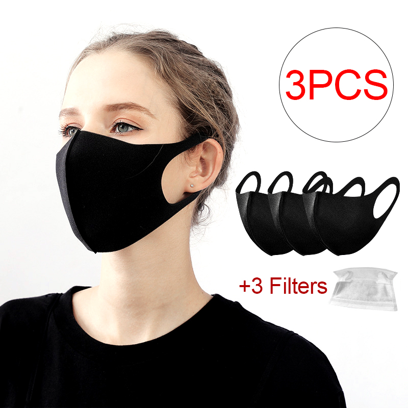3PCS Face Masks Dust-proof Breathable Cotton Ice Silk Alan Walker Mask Washable Anti-fog Mascherina Mascarillas