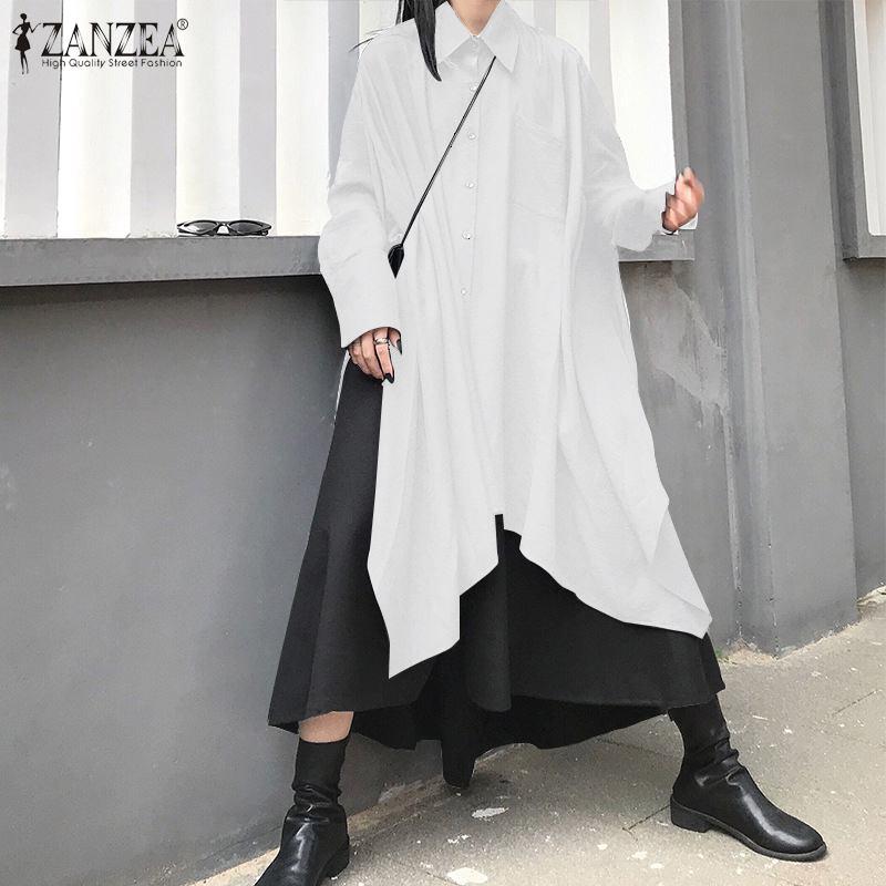 ZANZEA 2020 Stylish Women Asymmetrical Long Shirt Dress Lapel Neck Long Sleeve Loose Sundress Casual Solid Party Vestido Robe