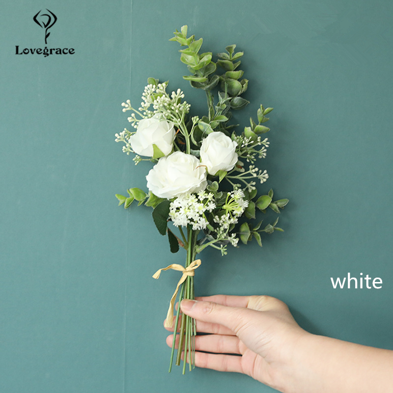 Lovegrace Bridesmaid Bouquet Artificial Flower Silk Rose Fake Eucalyptus White Flower Bundle Forest Bouquet Home Wedding Decor