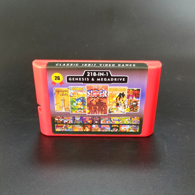 2G משחק כרטיס 218 ב 1 סוללה לחסוך עבור Sega Genesis Megadrive וידאו קונסולת משחקים עם פנטזית כוכבים השני IV צלבני של Centy לטפטף