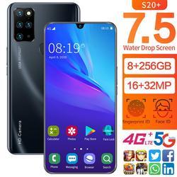 Galay S20 Smartphone réseau Android 10 16MP avant 32MP caméra 7.5 pouces 8G RAM 128GB ROM Octa Core Version mondiale téléphones mobiles