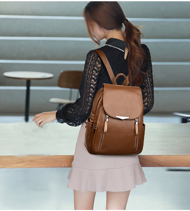 H2472f8569a3047cabb965033214ef905E - Women Backpack PU Female backpacks Vintage Leather School Bags Large Capacity School Bag for Girls Double Zipper Shoulder Bags