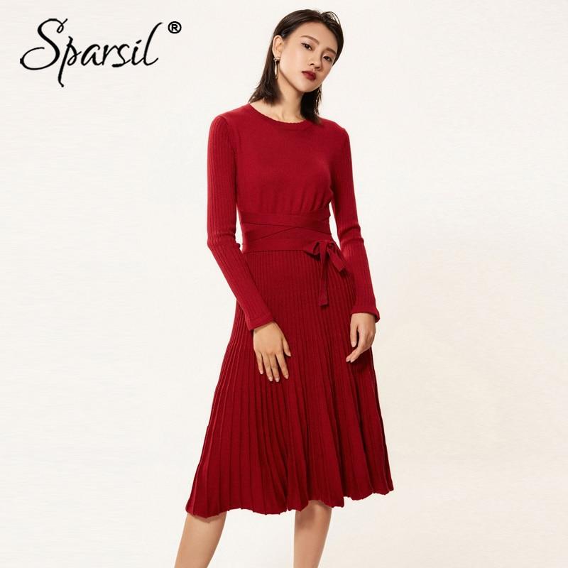 Sparsil femmes hiver laine tricoté longue robe O cou à manches longues plissé ceinture cachemire bureau dame élégant tricot femmes robes