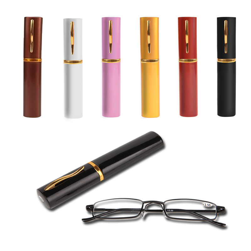 1PC Unisex Stainless Steel Frame Resin Reading Glasses 1 00 4 00 With Tube Case Y107 in Men 39 s Reading Glasses from Apparel Accessories
