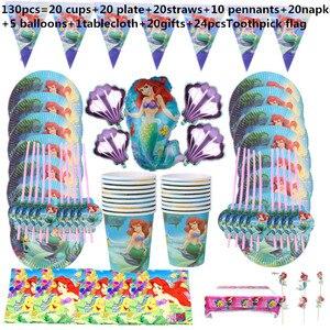 Image 4 - 110Pcs 20 คนHappyวันเกิดMermaid Ariel Girls Baby Shower Partyตกแต่งแบนเนอร์ตารางผ้าหลอดถ้วยแผ่นผู้ผลิต