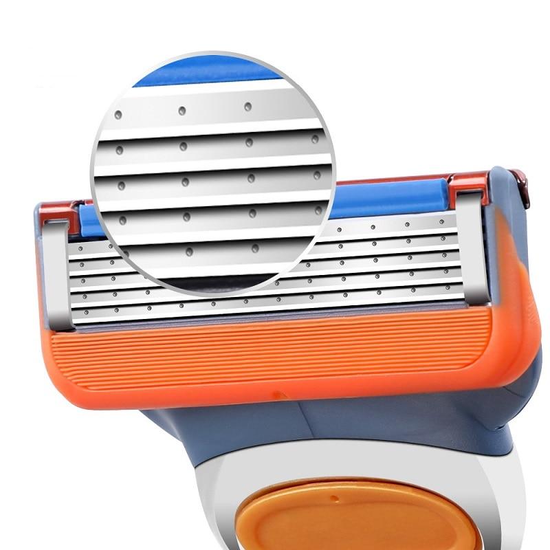 4pcs/set Razor Blade For Men Face Care Shaving Safety,5 Layer Stainless Steel Shaver Cassette